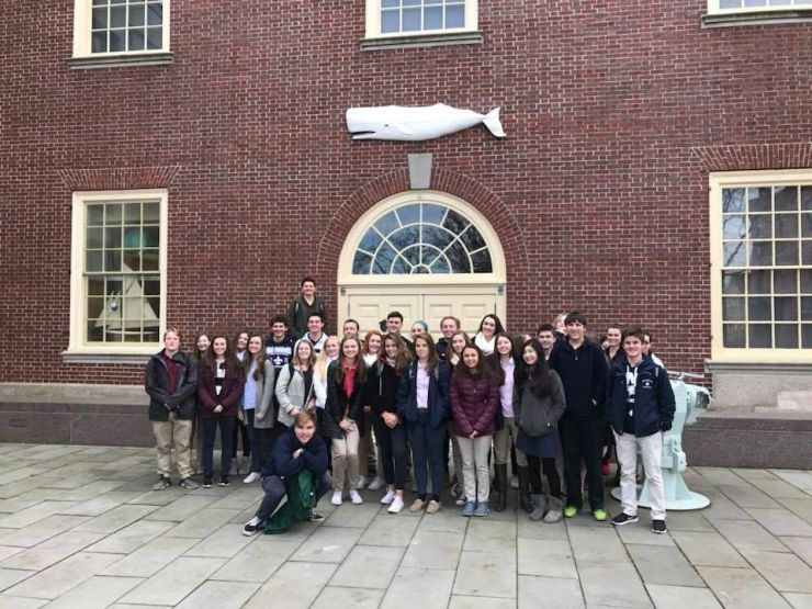 Students standing in front of whaling museum.