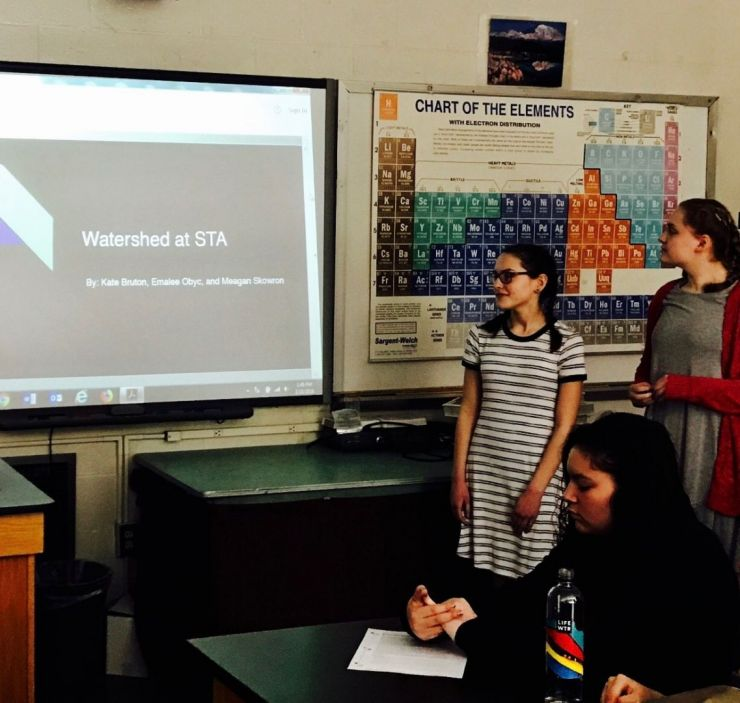 Students give a classroom presentation.